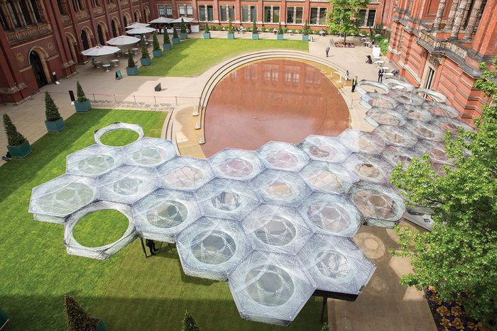 ICD/ITKE's Elytra Filament pavilion, constructed of nothing but glass and carbon fibres.