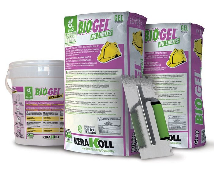 Kerakoll's Biogel tiling adhesives.