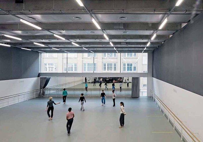 The main Rambert Studio runs the full width of the building at the rear.