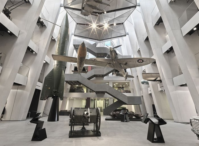 Angular, robust steel creates a new, cathedral-like space for the First World War Galleries at the Imperial War Museum. Foster +Partners with steelwork by Bourne Steel.
