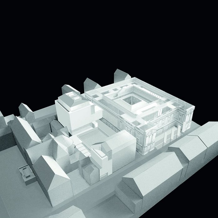 Model. The two new buildings will help enclose a new sculpture garden to the rear of the Chapelle.