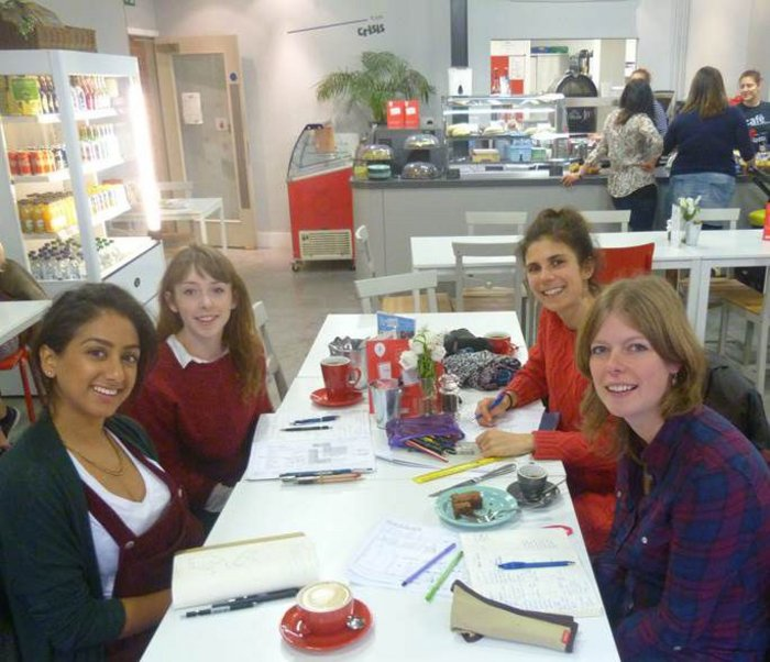 Office meeting at the Crisis Cafe Oxford. From left Jaina Valji, Katie Reilly, Julia Phillips, Clare Nash, all employees at Clare Nash Architects.