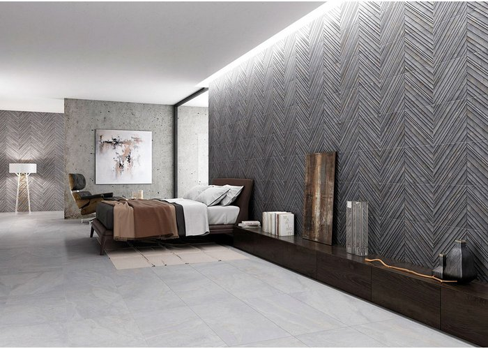 Osaka by Gayafores - porcelain wall tile in three neutral colours and three formats. These tiles with a rough hewn linear effect can be used to create striking textural patterns. www.gayafores.es