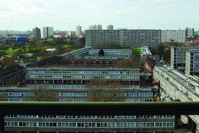 Overview of the Aylesbury Estate in London's Elephant and Castle, 2,704 council dwellings built between 1963 and 1977 and site of Tony Blair's first speech as prime minister.