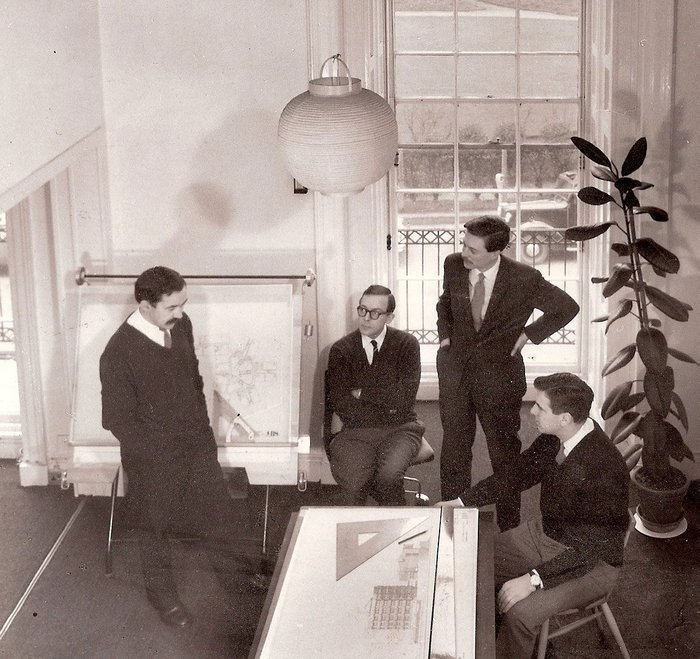 HKPA partners at their Fitzroy Square studio. Left to right Bill Howell (1922-74), John Killick (1924-71), John Partridge (1924-2016) and Stan Amis (b.1924).