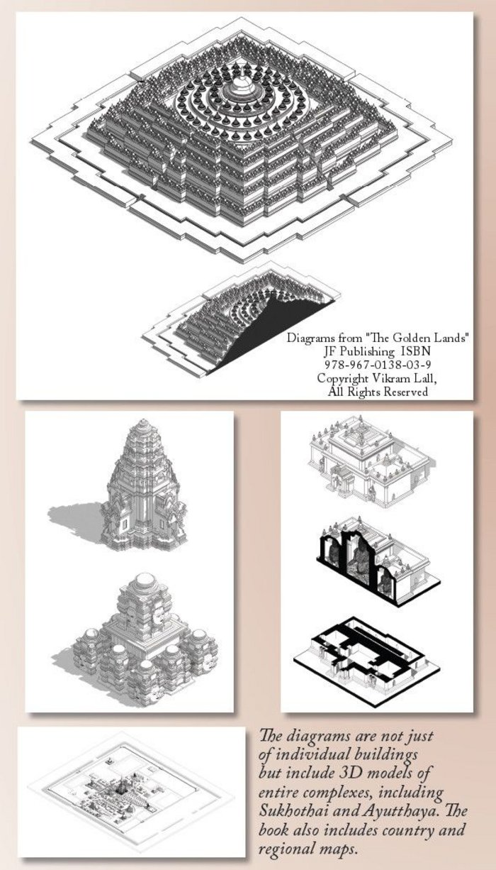 'The Golden Lands' includes over 100 specially-produced CAD diagrams, plans, and cutaways by Vikram Lall to provide the clearest possible view of the designs of these Buddhist buildings, which are often hard to appreciate close-up at the sites themselves.
