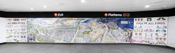 Hillhead Subway Station includes an artwork by local artist Alistair Gray
