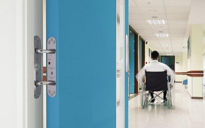 Samuel Heath door closer in healthcare environment.