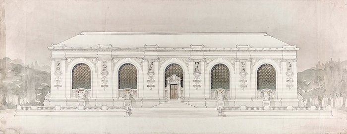 Design for Palais de Justice - front elevation, 1894.