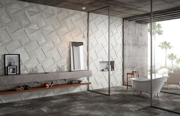 White Décor Ramp by Apavisa, Alchemy 7.0 Collection. Porcelain square tile in 59.55x59.55cm format that contrasts hammered and natural finishes with a 3D relief in white, black or blue.