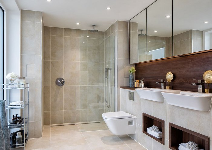 Nine Elms Point penthouse featuring Impey's bespoke wetroom drainage system.