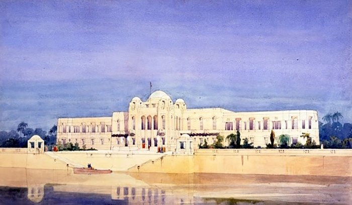 Design for a Palace on the Tigris for King Faisal of Iraq. Perspective drawing rendered in watercolour by JMW. Dated 1926. Exhibited Royal Academy 1928.