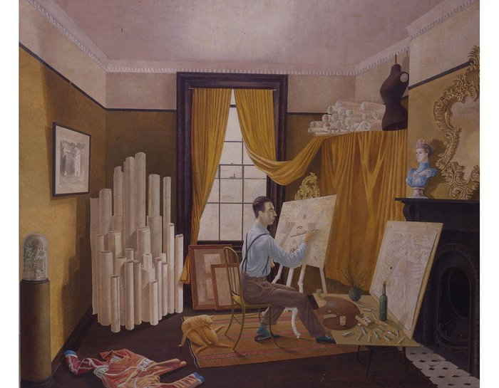 Edward Bawden Working in his Studio, as painted by Ravilious