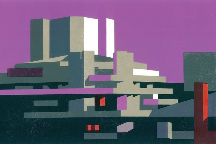 National Magenta, a linocut by Paul Catherall. The illustrator was drawn to the concrete of the National Theatre and the rest of the South Bank when he moved to London.