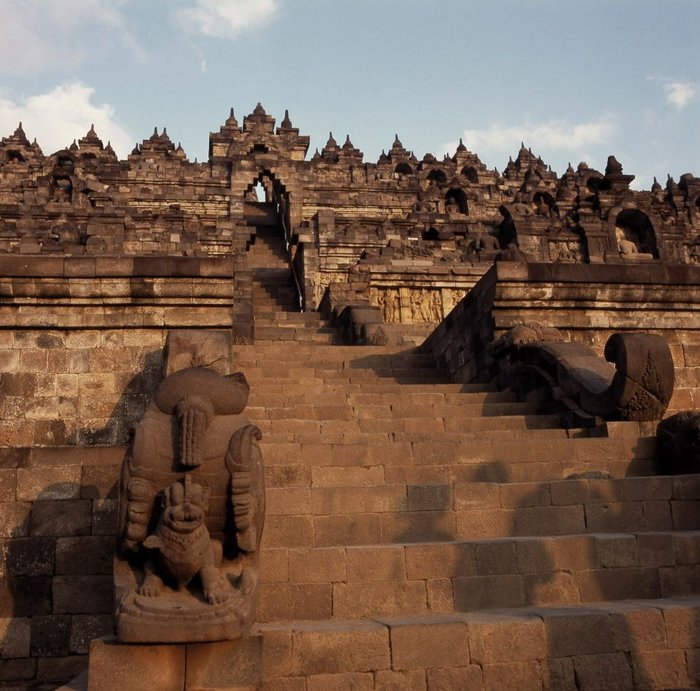 The great temple of Borobudur, in Central Java, Indonesia, is subject to constant conservation efforts to keep it open to tourists and pilgrims while protecting the building and sculpture from damage.