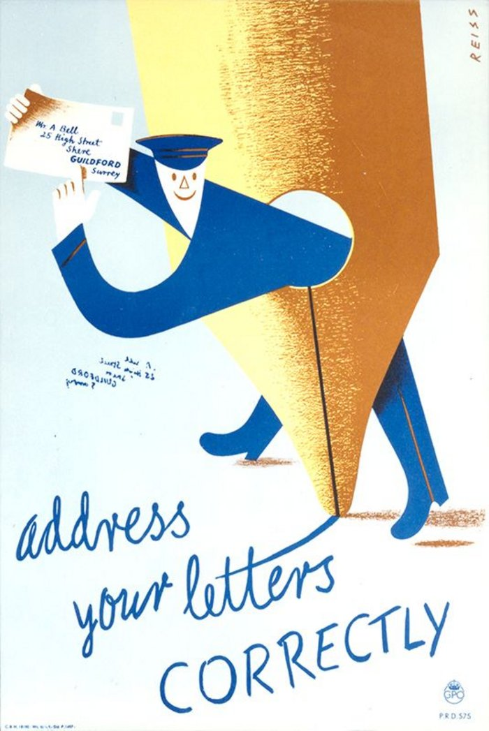 Address Your Letters Correctly poster designed by Manfred Reiss for the GPO.