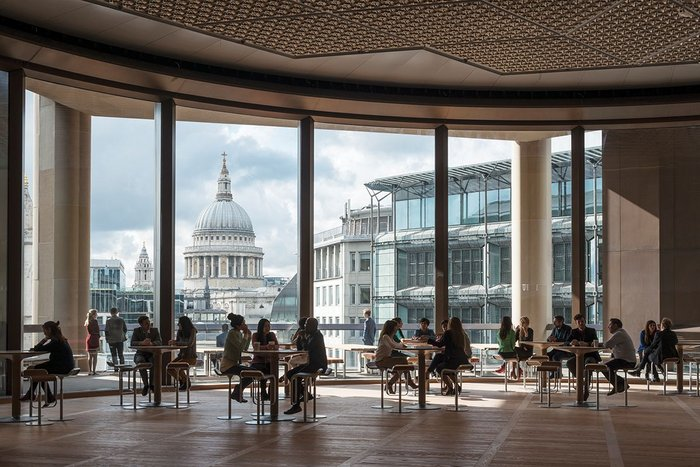 View from the 6th floor Pantry over St Paul's Cathedral. It is used as a space for taking a break and holding meetings as well as events.