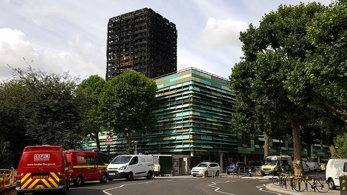 Grenfell Tower is now an investigation site, shown here a month after the catastrophic fire.
