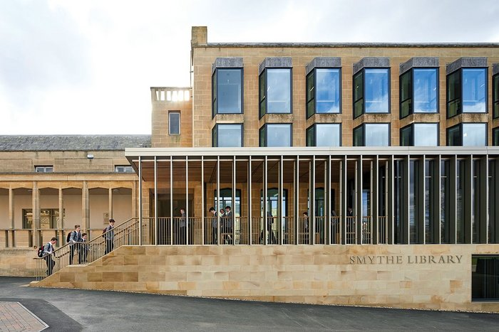 The north elevation formalises the entrance sequence and focuses across to the school chapel.