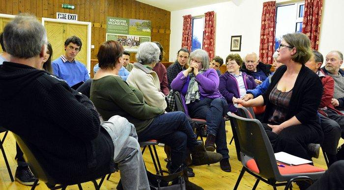 Village hall meeting.