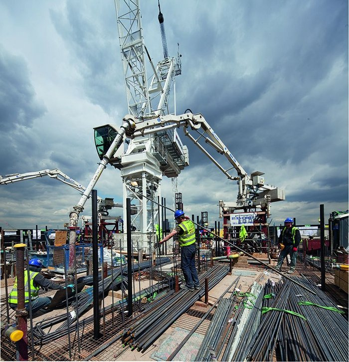Pumping concrete at height – the mass of the upper levels acts as a damper, reducing sway.