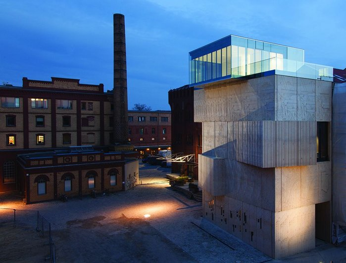Set within a square of former industrial warehouses, the Tchoban Foundation's building is a strong formal presence