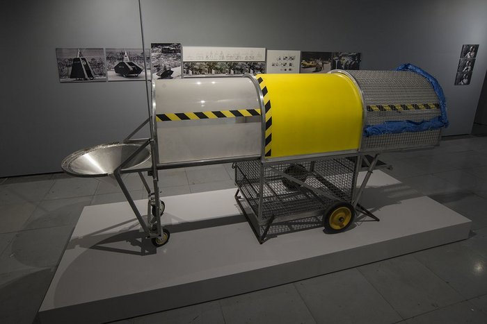 Krzysztof Wodiczko, Homeless Vehicle Project, 1987-89, Installation view. Liverpool Biennial 2016 at FACT.
