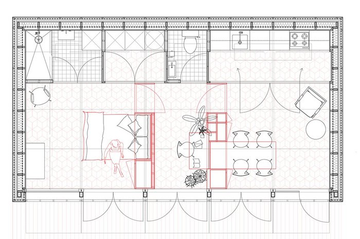 Two mobile partition walls (marked in red) divide the pavilion's main space.