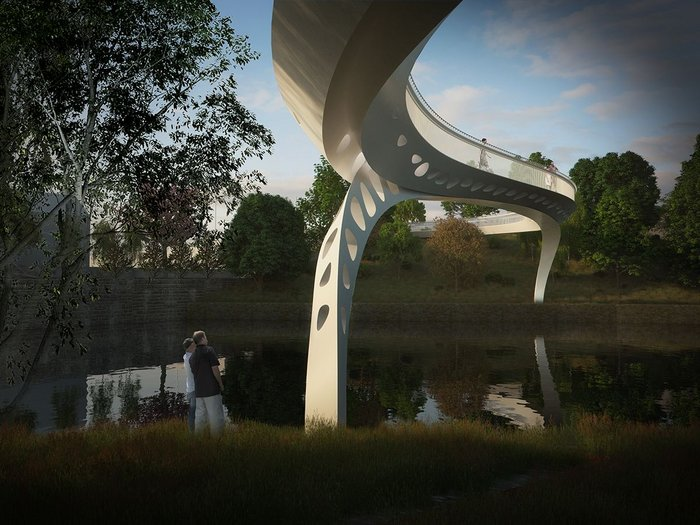 Salford Meadows Bridge competition scheme about to go in for planning. Tonkin Liu