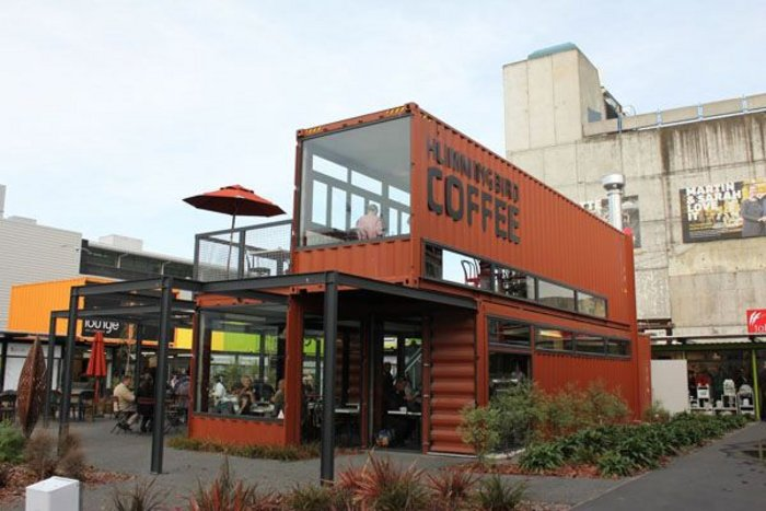 Happy to be ephemeral: The shipping containers of the Hummingbird Cafe.