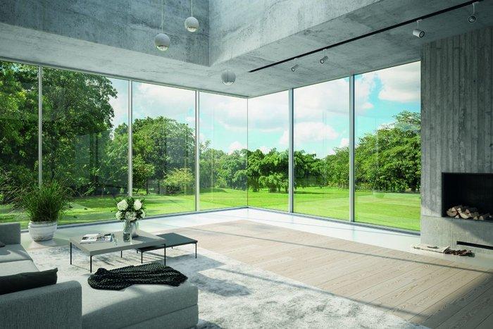 The Schueco FWS 35 PD façade now has an all-glass corner solution.