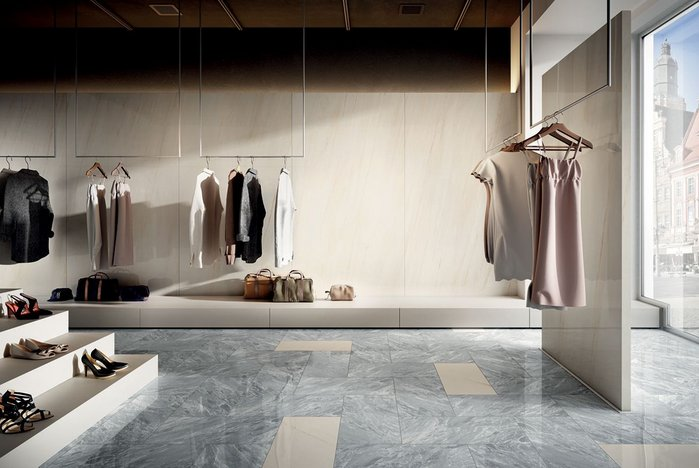 Boutique with Anima Select Bianco Alpino walls and Anima Select Grigio Boreale and Bianco Alpino floor