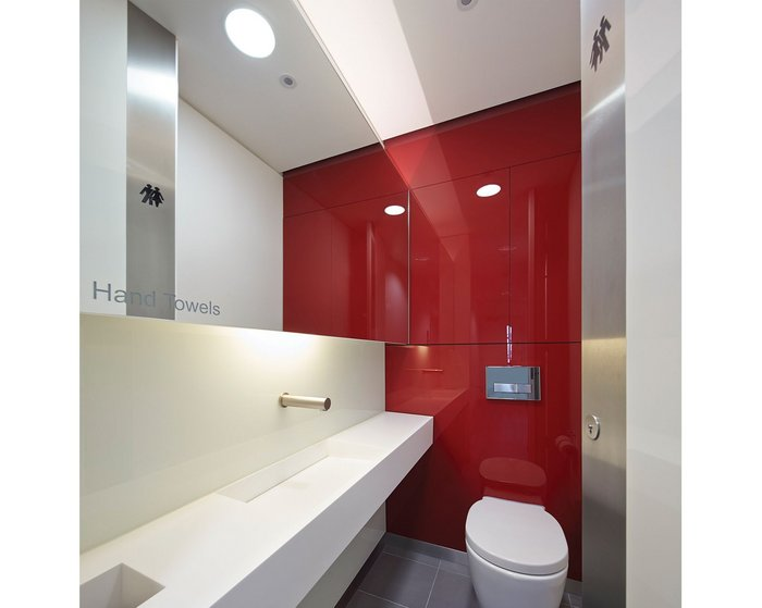 John Robertson Architects' superloos: Space, privacy and finish that evokes boutique hotel  rather than commercial office.