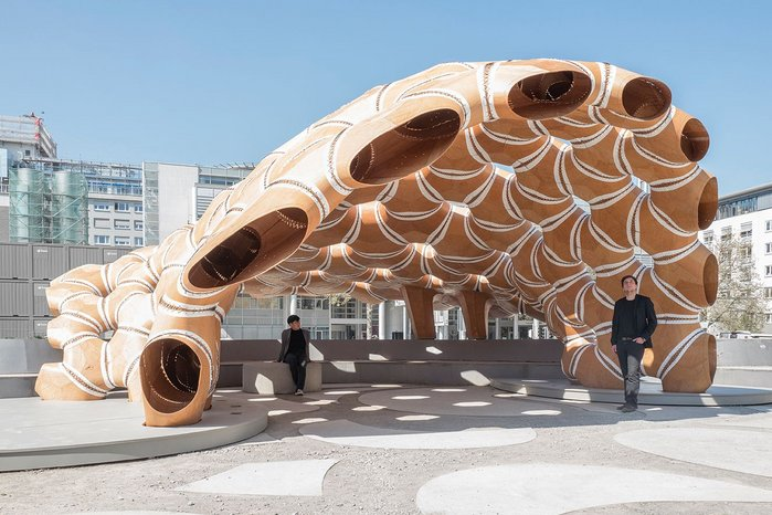 The 2016 Stuttgart pavilion, based on a form of sea urchin, is built of elastically bent, double layered segments of robotically sawn beech plywood.
