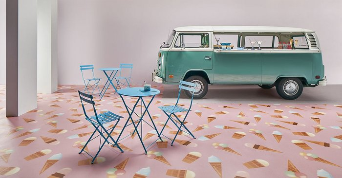 Forbo safety vinyl flooring can be specified in bold colours and patterns.
