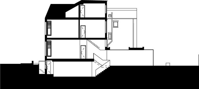 Section through Well House, with a basement connection to the garden.