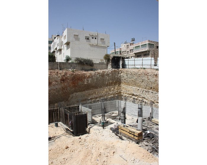 Construction site in Hebron. Due to the local ground conditions, and unlike in the UK, basement areas are relatively inexpensive to construct.