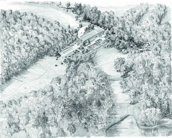 Tom Stuart-Smith's visualisation of Northbrook succeeds in melding the abstracted modern house into a natural landscape