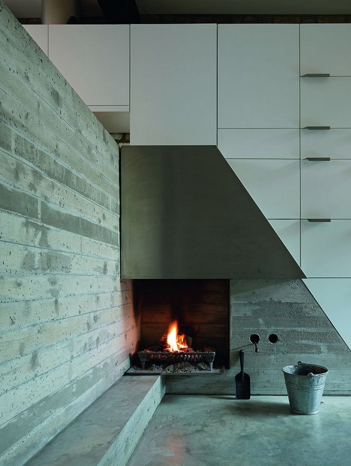 Modern Terrace, Coffey's own house, has a real fire with a real bucket in the dining room.