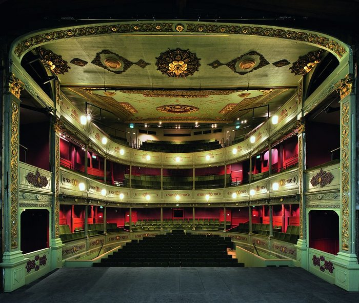 The restored Old Vic auditorium showing the unique stage boxes, formerly part of the auditorium, now restored to their rightful position as part of the stage.
