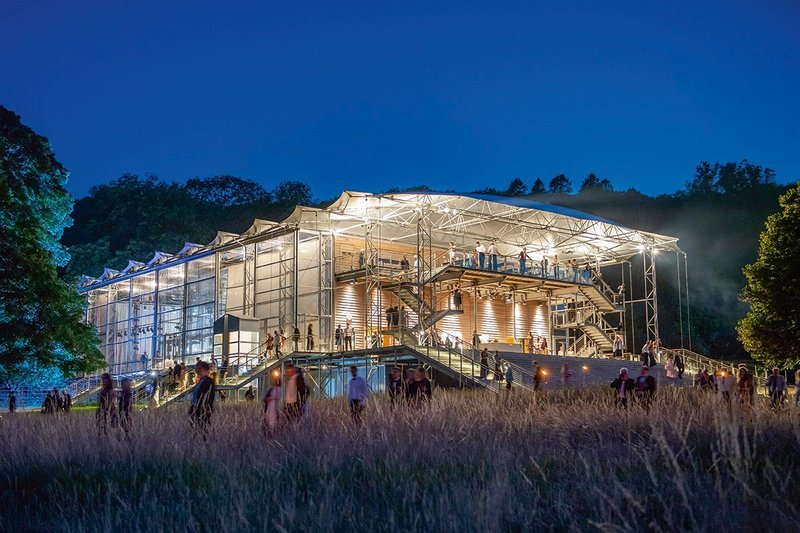 Prefabrication techniques at Garsington Opera Pavilion minimised waste, ensured a consistent workmanship and allowed the galvanized steel structure to be assembled/dissembled quickly and economically.