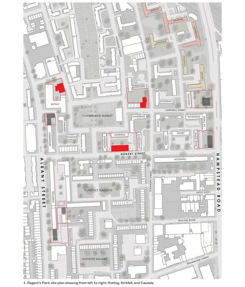 Site plan of the estate with new blocks marked. Those in red by Mae, those in dark grey by Matthew Lloyd Architects. The pink blocks at top right are the Gibberd ones now demolished to widen the railway tracks for HS2