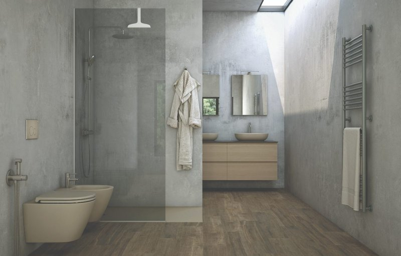 RAK Ceramics' RAK-Feeling bathroom range: Coloured matt-finish sanitaryware shown here in Cappuccino is also available in Black, Grey, Greige and White.