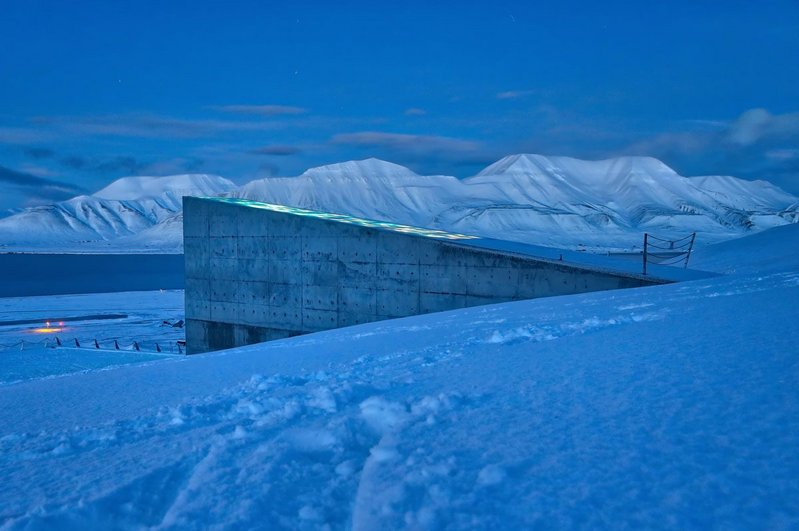 The Svalbard Global Seed Vault keeps its collection of vulnerable food crop seeds safe deep inside a mountain on the Svalbard archipelgo, between mainland Norway and the north pole. It is planned to last 1000 years.