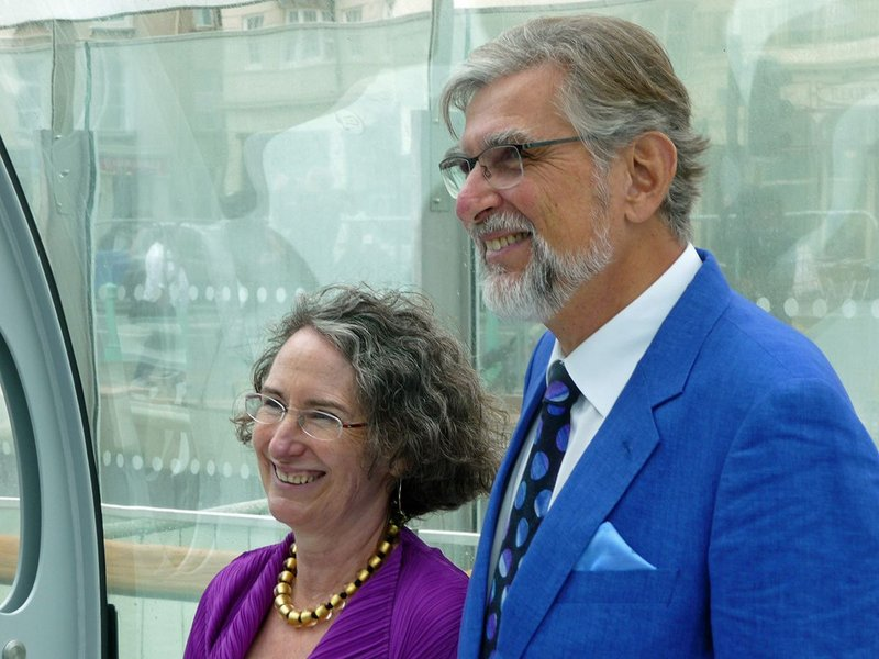 David Marks and Julia Barfield at the opening of Brighton's i360 in 2016.