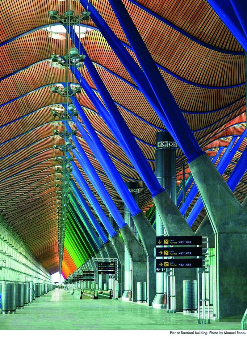 Drawings and objects rather than photography define the show. But who can resist this rainbow shot of Barajas Airports' Terminal 4?