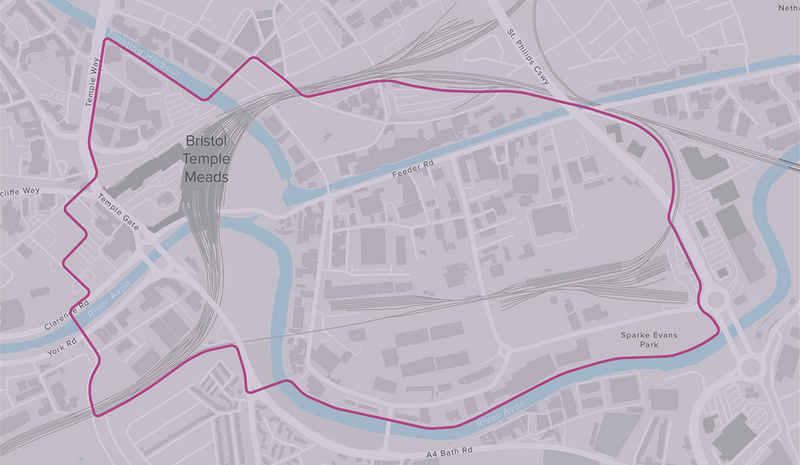The area designated as Temple Quarter Enterprise Zone with the tracks of Temple Meads Station. Mott MacDonald, Weston Williamson and AWW.