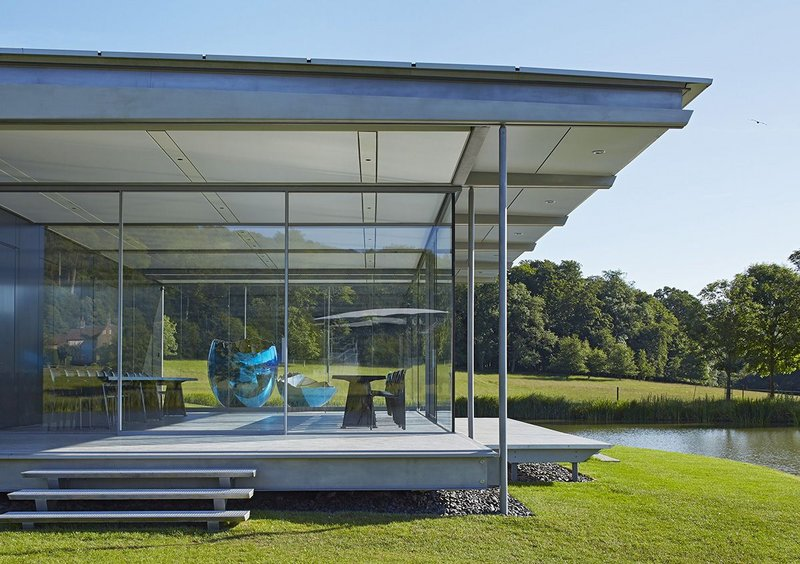 Island Pavilion and Footbridge, Wormsley – Architect: Robin Snell and Partners. Click on the image