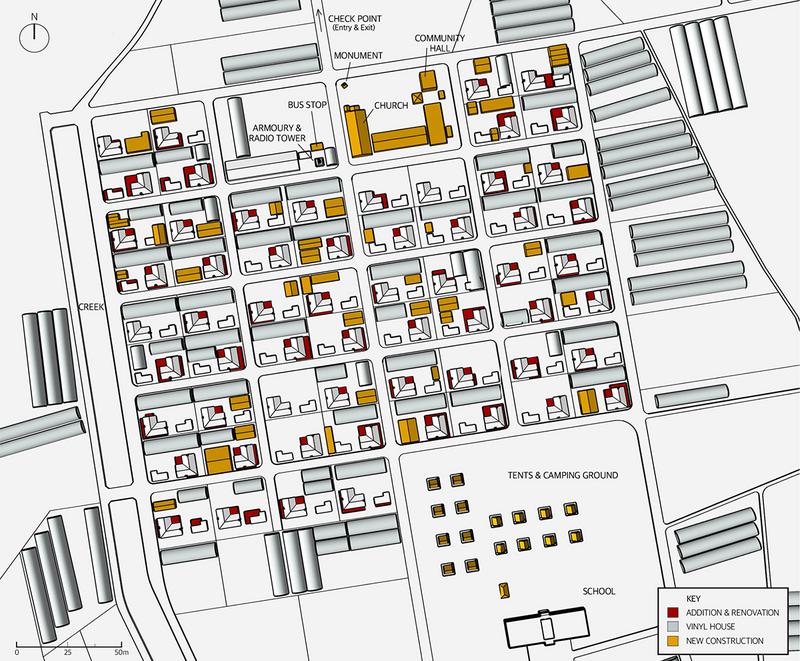 Map showing Yugok-ri's change in building footprint between 1973–2019.