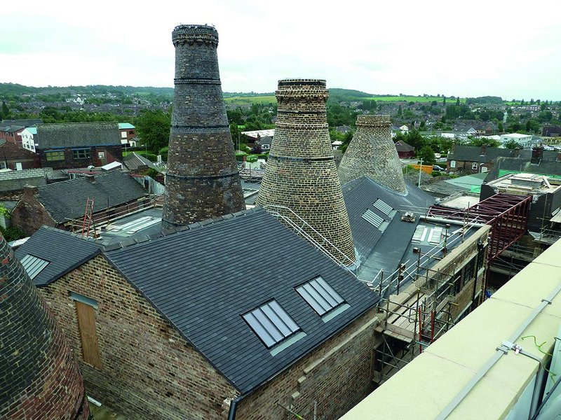 View of the restored Enson Works, forming part of the CoRE complex. The brick kilns remain part of the restored building.